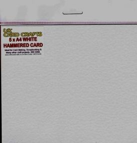 A4 White Hammered Embossed 250gsm Card x 5 Sheets - UKCC0245